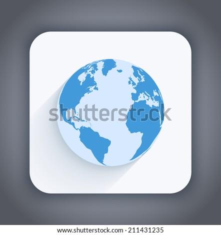 Vector earth icon - stock vector