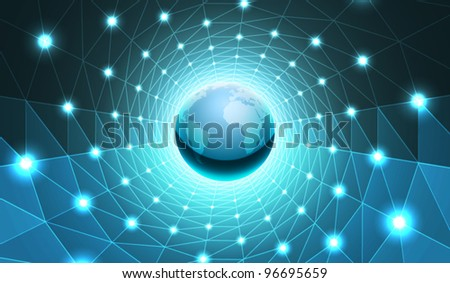 Vector Earth in Tunnel Illustration - stock vector