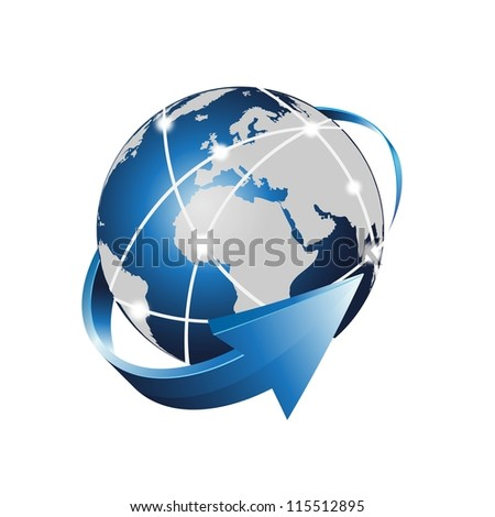 vector earth of internet network - stock vector