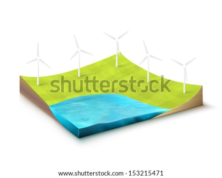vector Earth slice - wind turbines - stock vector