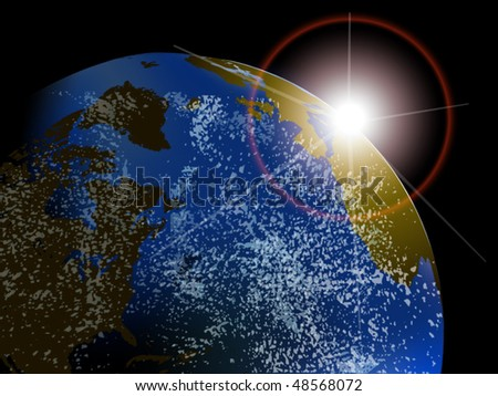 Vector earth with rising sun and clouds seen from space