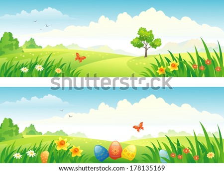Vector Easter and spring banners - stock vector