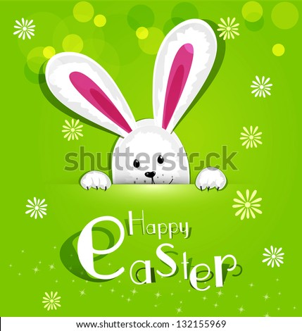 Vector Easter bunny looking out a green background - stock vector