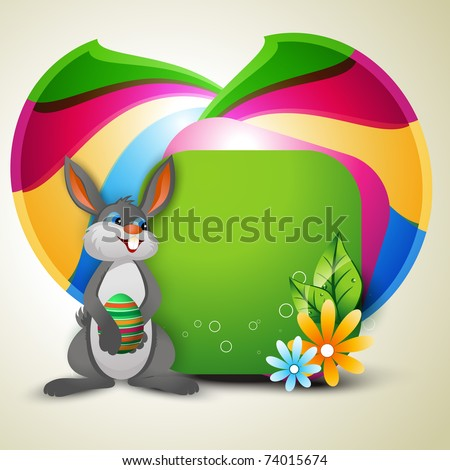 vector easter bunny with space for your text - stock vector
