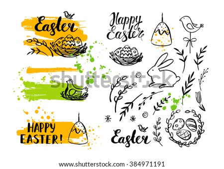 Vector Easter card and hand drawn Easter element. Happy Easter. Easter banner. Brush stroke. Modern calligraphy. Ink hand drawn inscription. Typography. Brush lettering. Easter bunny, eggs, chicken.