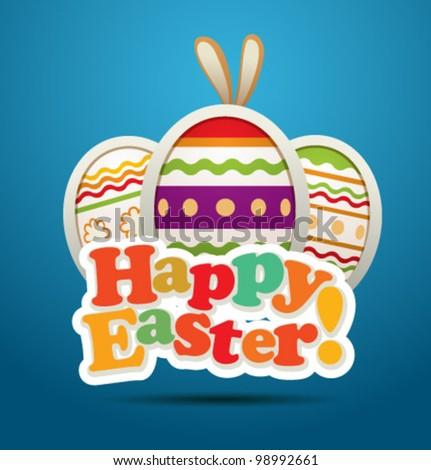 Vector Easter card. Blue. - stock vector