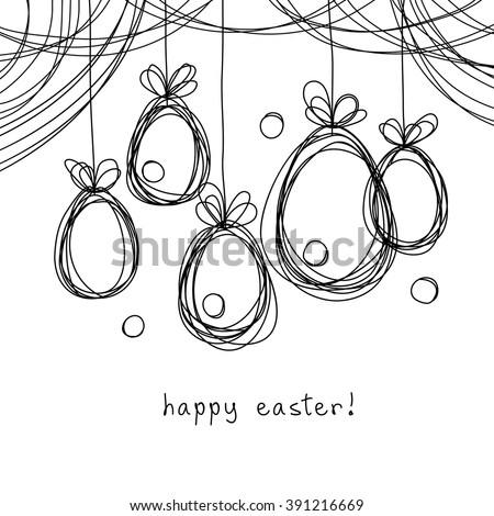 Vector Easter card. Eggs doodle background. Cute hand drawn childish invitation, greeting card. Holiday linear illustration for print, web - stock vector