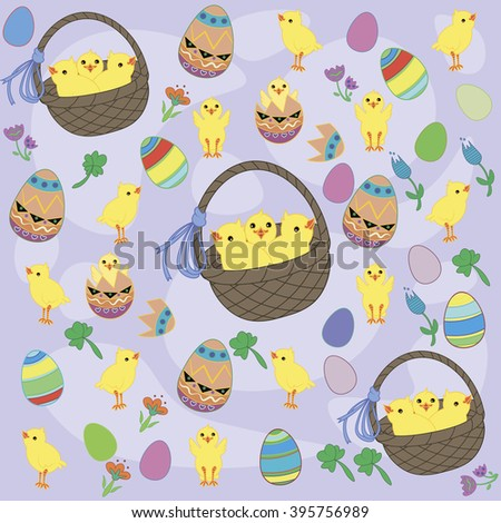 Vector  Easter chicks - stock vector