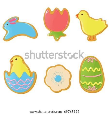 Vector Easter cookies - stock vector