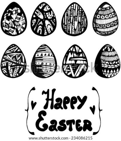 vector easter eggs set - stock vector