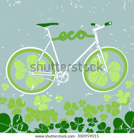 Vector eco bicycle with clover and grunge background