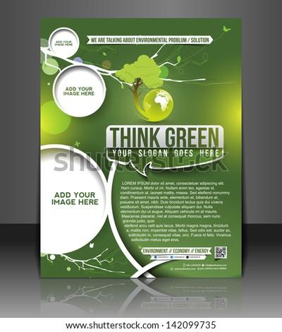 Vector eco brochure, flyer, magazine cover & poster template - stock vector