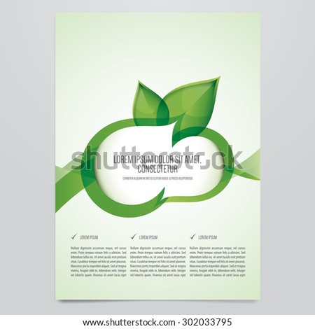 Vector eco brochure, flyer template. Modern green leaf, environment design. - stock vector