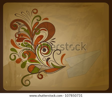 vector eco  concept composition with a paper plane and  and floral pattern on crumpled paper texture, eps 10, - stock vector