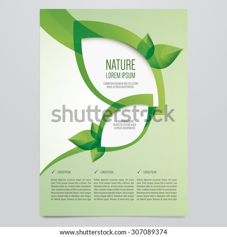 vector eco flyer poster brochure magazine cover template modern green leaf