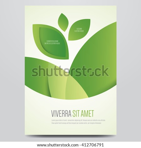 Vector eco flyer, poster, brochure, magazine cover template. Modern green leaf, environment design. - stock vector