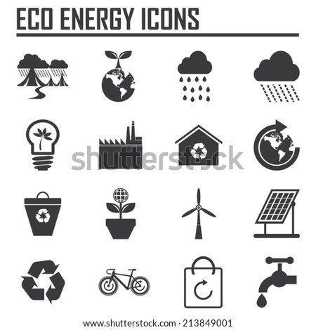 vector  eco green energy icons set  - stock vector
