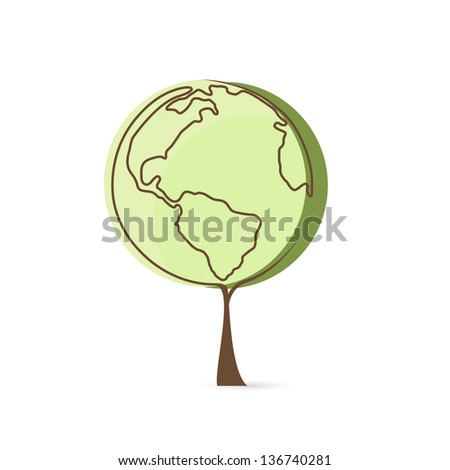 Vector eco green planet tree.