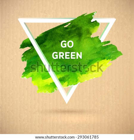 Vector eco green watercolor polygonal style ecology theme  on white background - stock vector