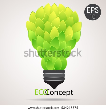 Vector eco lamp. Lightbulb from green leaves. Eco concept