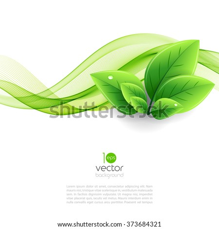 Vector eco leaves and green wave. Abstract ecology background - stock vector