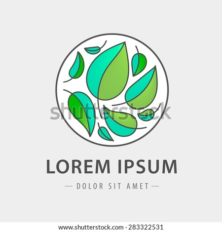 vector eco round leaves logo, icon isolated - stock vector