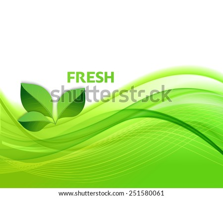 Vector Eco text with leaves. Ecology concept. Think green, go green and fresh - stock vector