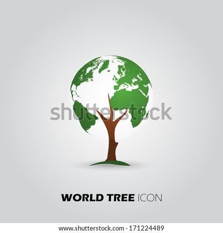 Vector Eco World Tree Icon - stock vector