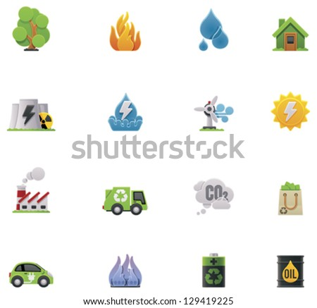 Vector ecology and environment preservation icon set. Includes symbols, representing major issues - garbage, factories pollutions, forest wildfires, flood, power  generation and other - stock vector