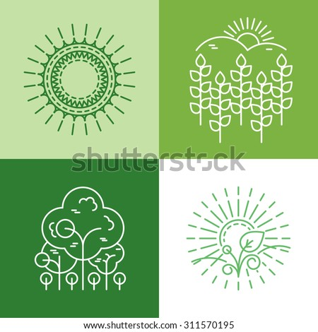 Vector ecology and organic icons and logos in outline style - abstract design elements and signs. Eco icons. Eco logo. Eco line art. Eco best logo. Farm logo. Eco plant. Sun line logo. Organic logo - stock vector