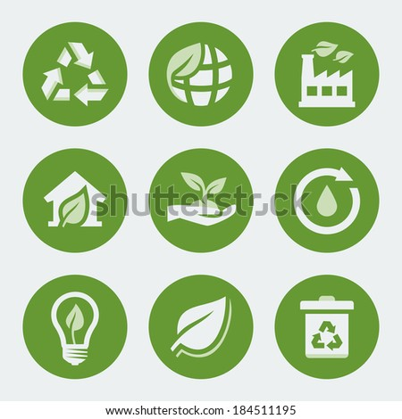 Vector ecology and recycling icons set - stock vector