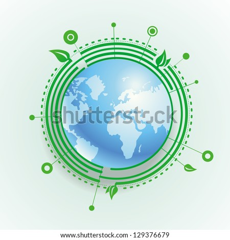 Vector ecology concept - blue earth with green leaves - stock vector