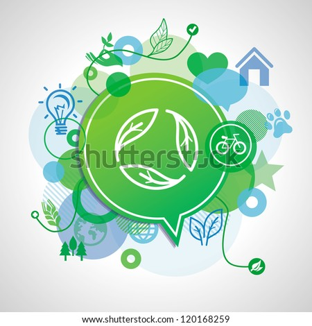 Vector ecology concept - design elements and signs - stock vector