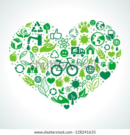 Vector ecology concept - heart design element made from icons and signs - stock vector