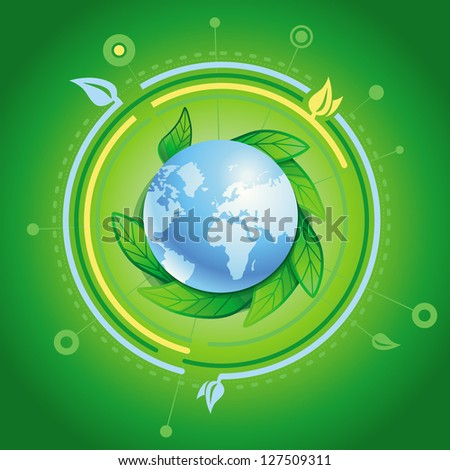 Vector ecology concept - planet with green leaves