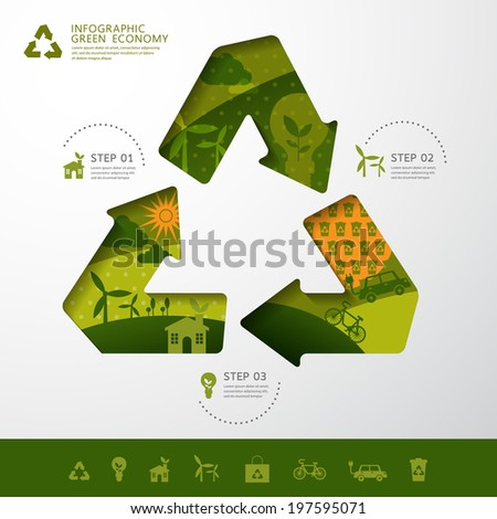 Vector ecology concept recycle infographic modern design. icon and sign.  - stock vector