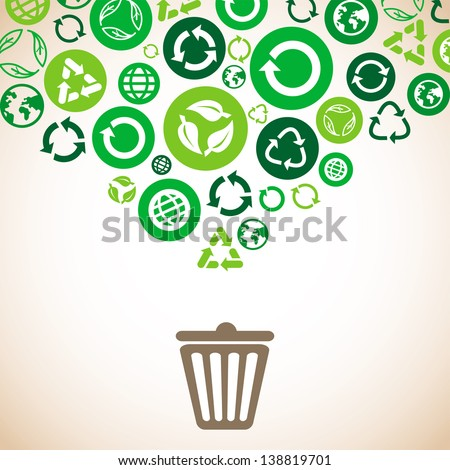 Vector ecology concept with recycle signs and symbols in green color - stock vector