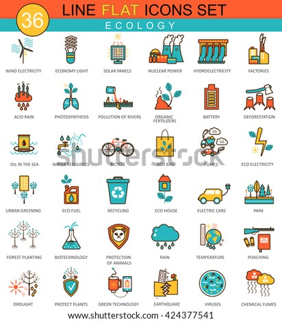 Vector Ecology flat line icon set. Modern elegant style design for web. Ecology icons set, Ecology icons collection, Ecology flat line icons, Ecology vintage icons, Ecology icons concept, Ecology icon - stock vector