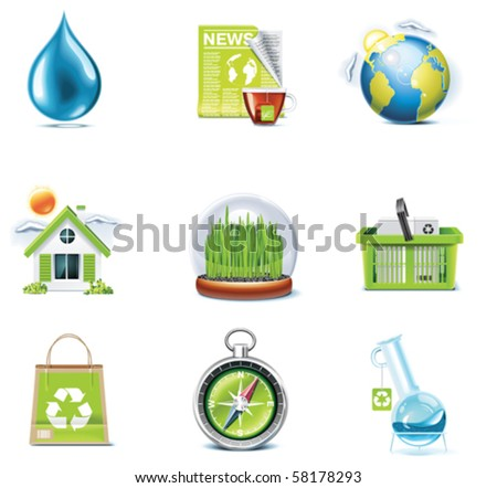 Vector ecology icon set. Part 3 - stock vector
