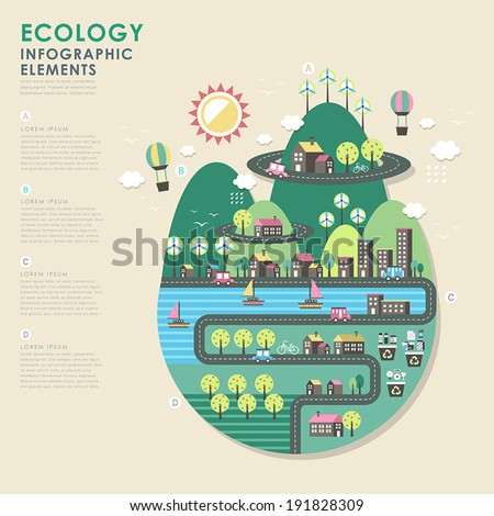 vector ecology illustration infographic elements flat design - stock vector