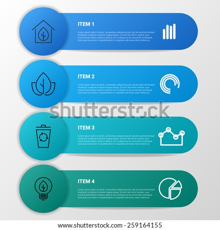 Vector ecology infographics with ribbons and arrows - stock vector