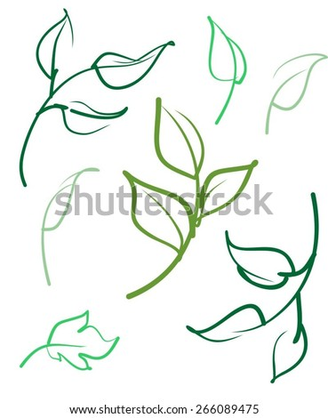 vector ecology leaves emblem - stock vector