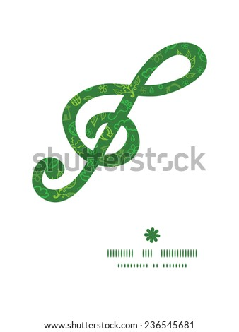 Vector ecology symbols g_clef musical silhouette pattern frame - stock vector
