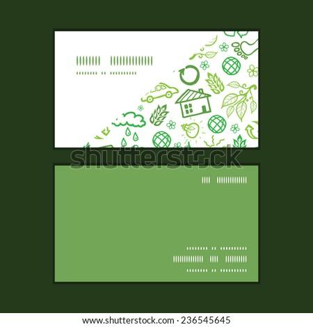 Vector ecology symbols horizontal corner frame pattern business cards set - stock vector