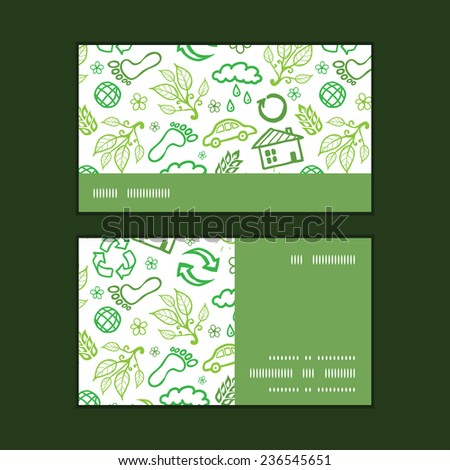 Vector ecology symbols horizontal stripe frame pattern business cards set - stock vector