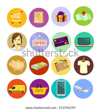 Vector ecommerce flat icon set