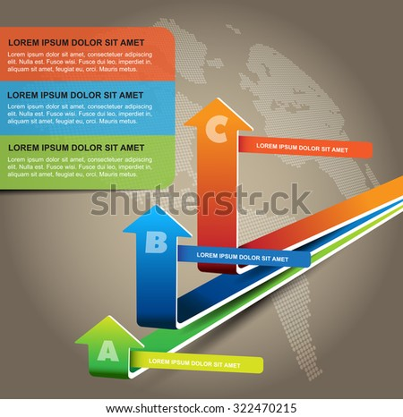 Vector economic graph with three levels and three places for a description - stock vector