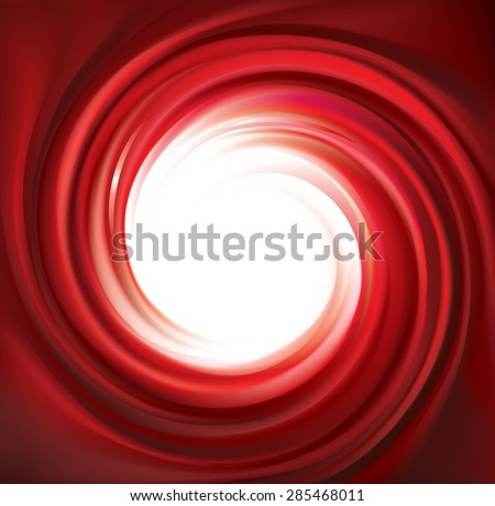 Vector eddy vinous backdrop. Coil fluid surface deep claret color with space for text in white center. Appetizing juice bright fruits: strawberry, tomato, cranberry, raspberry, pomegranate, redcurrant - stock vector