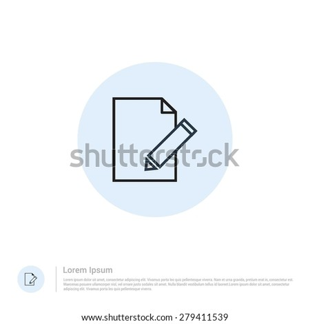 vector Edit document icon thin line for web and mobile, modern minimalistic flat design. Vector outline icon and offset colour on light white background - stock vector