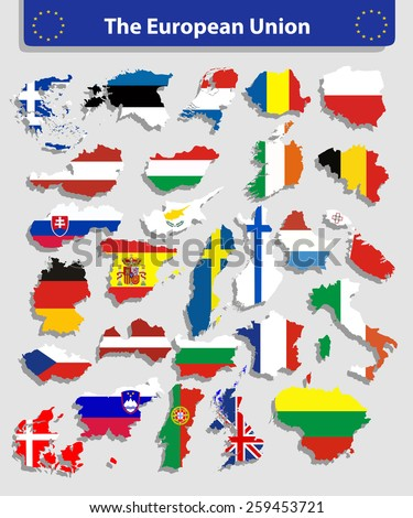vector editable European Union flags in map shape - stock vector